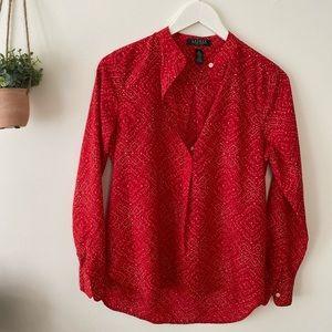 LAUREN Ralph Lauren Petite Red Print Tunic Size S